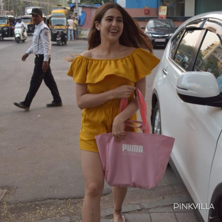 Sara Ali Khan looks like a ray of sunshine as she dons a yellow playsuit; See Pics