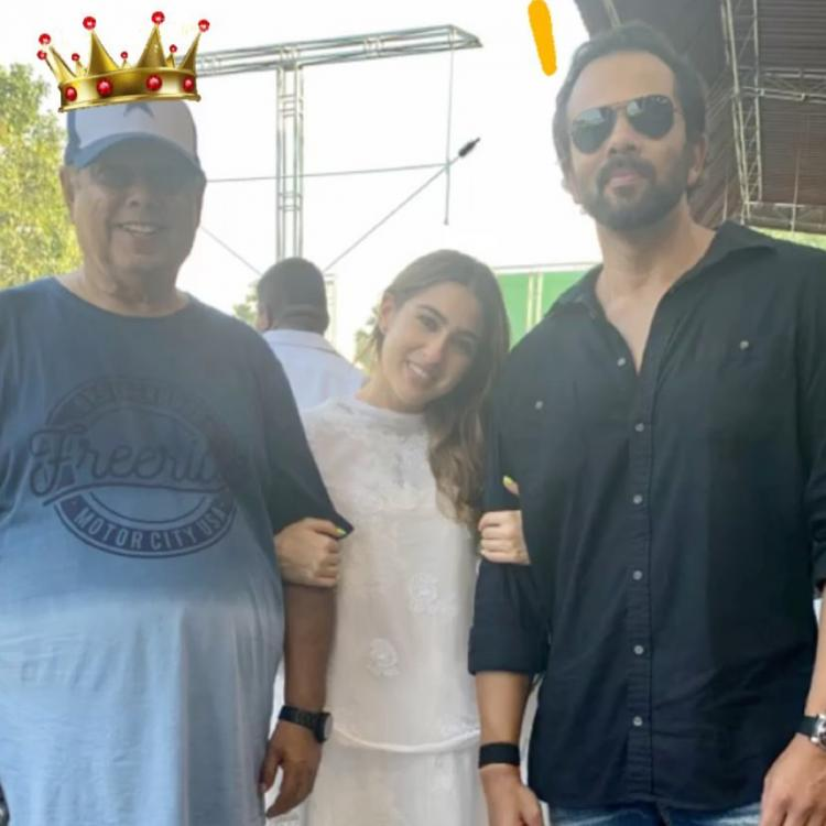 Photo: Sara Ali Khan feels blessed to pose with her two directors David Dhawan and Rohit Shetty; Check it out