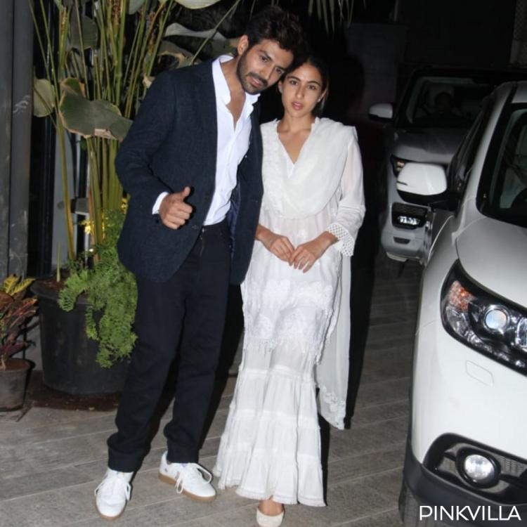 PHOTOS: Aaj Kal duo Sara Ali Khan and Kartik Aaryan can't seem to stop gushing as they visit Dinesh Vijan