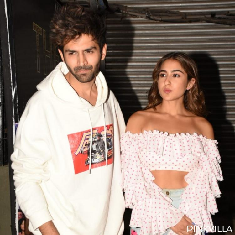 PHOTOS: Aaj Kal co stars Sara Ali Khan and Kartik Aaryan strike a pose for the paps as they head out