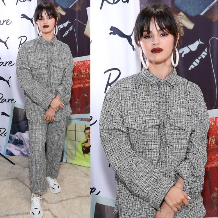 Selena Gomez keeps it cosy in a tweed houndstooth Toteme boxy outfit as she rocks an edgy look in NYC