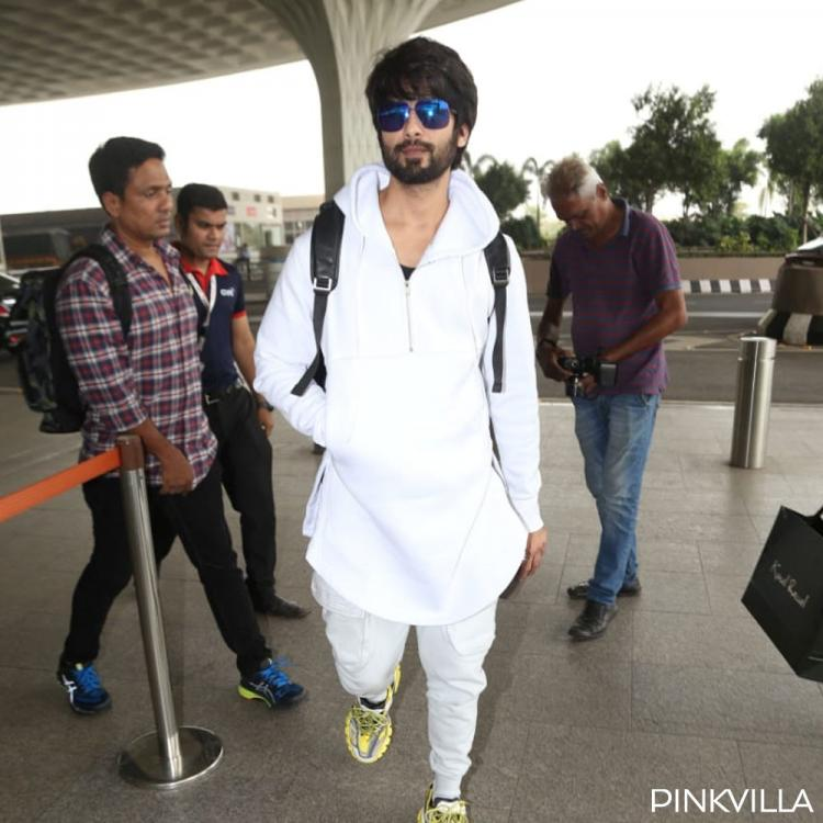 PHOTOS: Shahid Kapoor looks dapper in his all white look as he gets spotted at the airport