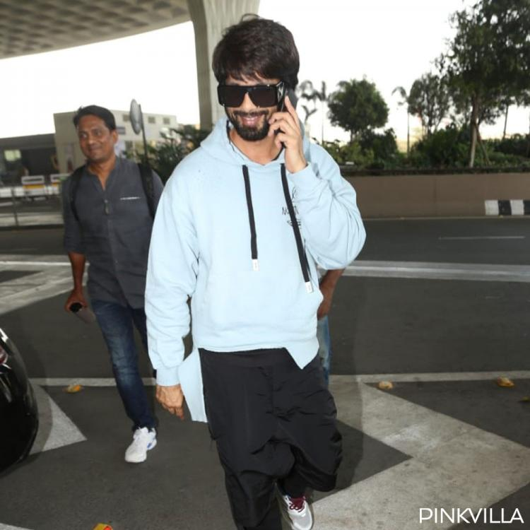 PHOTOS: Jersey actor Shahid Kapoor exudes charm in his neon blue sweatshirt as he gets papped at the airport