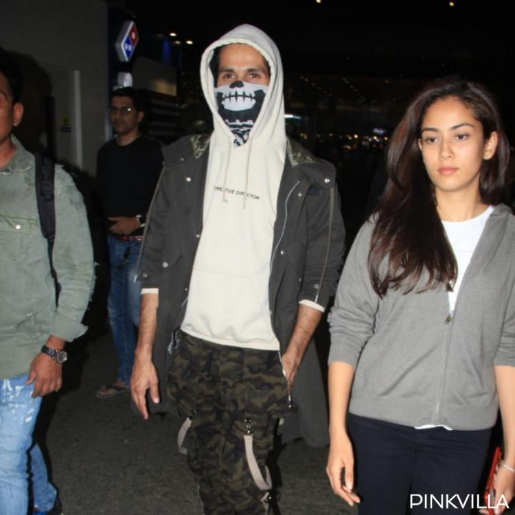 PHOTOS: Shahid Kapoor covers up his injury from Jersey prep as he returns to Mumbai with wife Mira Rajput