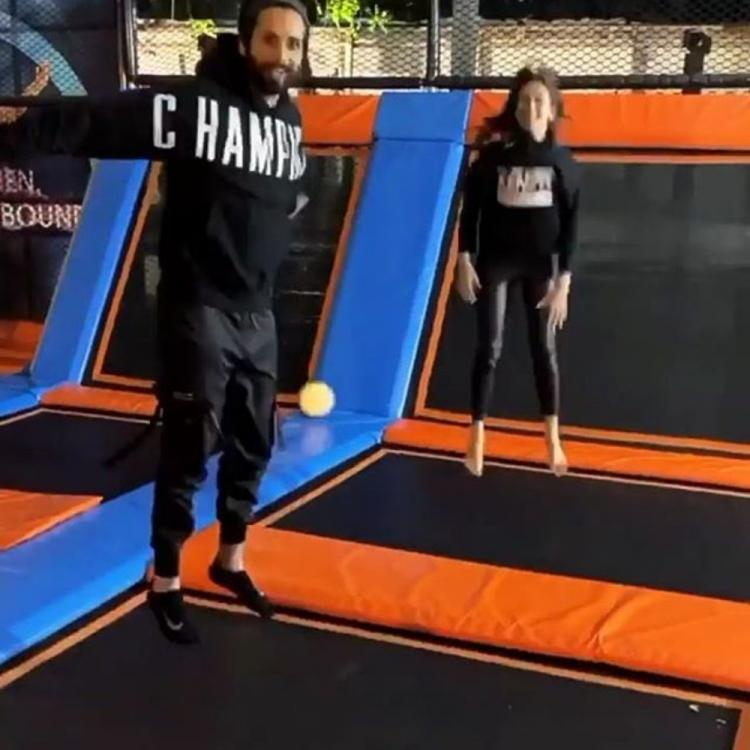 Shahid Kapoor and Mira Rajput channel their inner child as they enjoy on a trampoline; WATCH