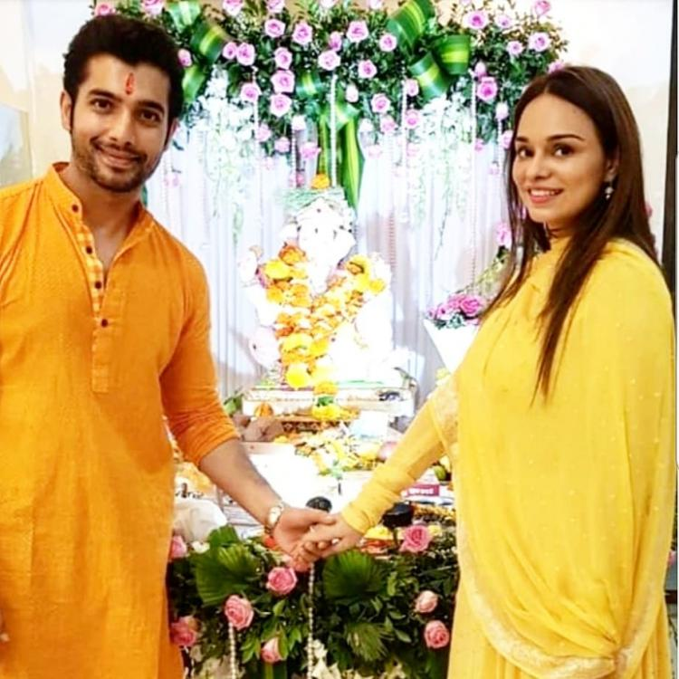 Sharad Malhotra is lucky to have fiancee Ripci Bhatia in his life; couple seeks blessing from Lord Ganesha