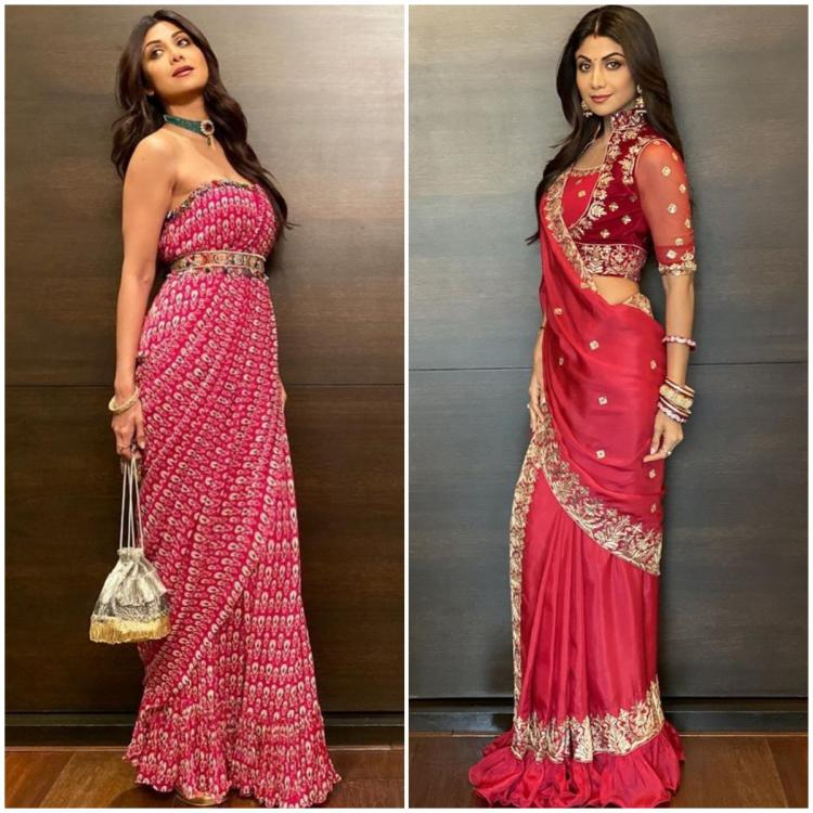 Shilpa Shetty's modern day concept sarees make for the perfect outfits for this festive season; Check them out