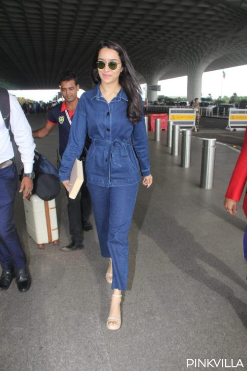 Shraddha Kapoor makes heads turn in a denim on denim attire as she heads to Chennai for Saaho's promotions