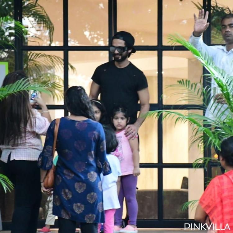 Shahid Kapoor poses with his little fans after stepping out of the gym; View Pics