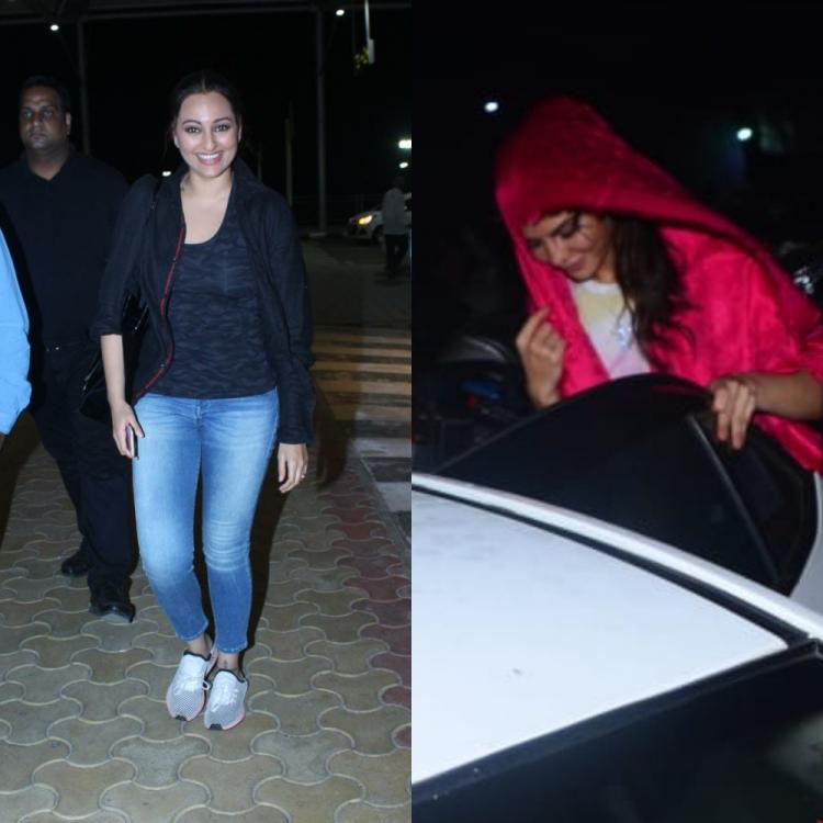 PHOTOS: Sonakshi Sinha is all smiles at the airport; Jacqueline Fernandez hides her face as she gets papped