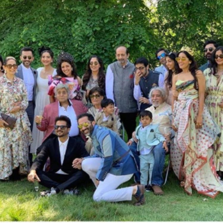 Sonam Kapoor with father Anil Kapoor & others pose for a perfect family pic as they attend a wedding in London