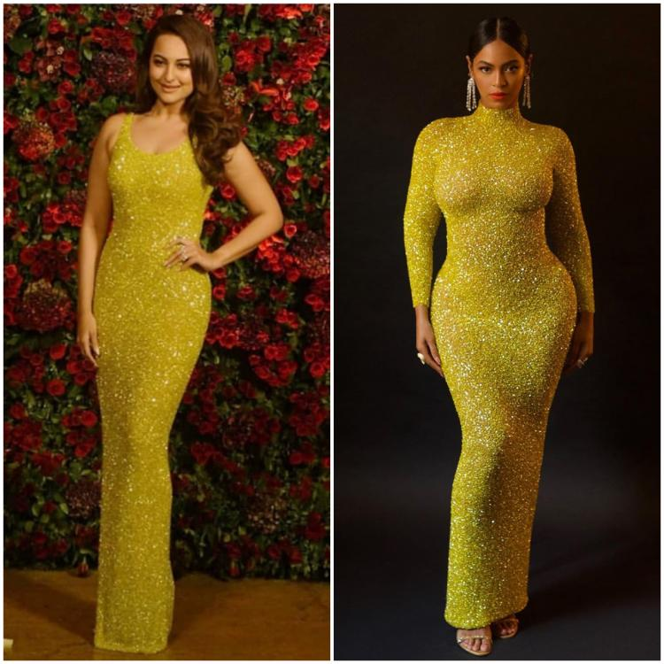 Fashion Faceoff: Sonakshi Sinha or Beyonce: Who wore the Yousef Al Jasmi glittery yellow dress better?