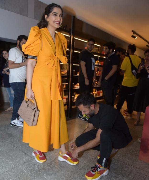 PHOTOS: Anand Ahuja is giving out major husband goals as he goes on his knees to fix Sonam K Ahuja's shoelaces
