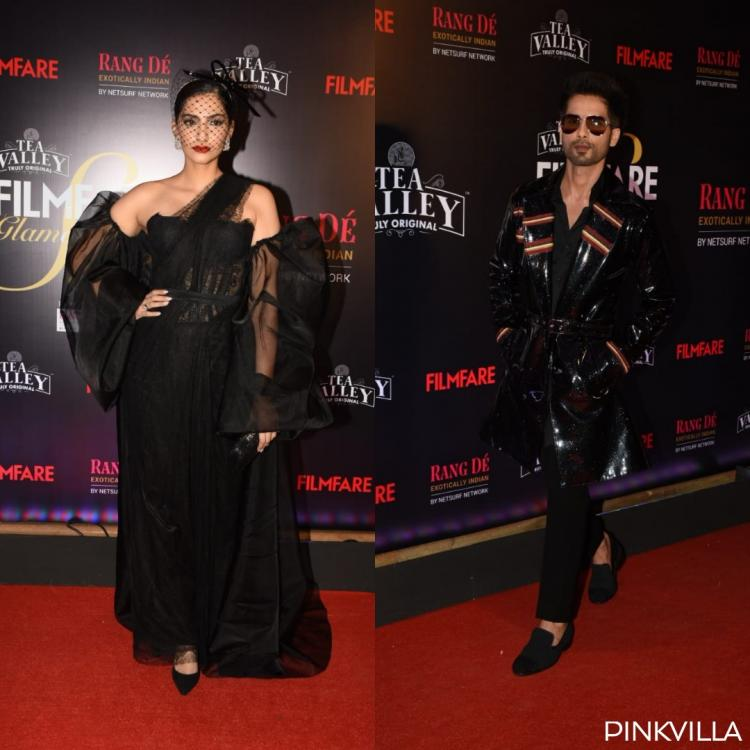 PHOTOS: Sonam Kapoor gives the sari a modern twist; Shahid Kapoor goes all black at the awards tonight
