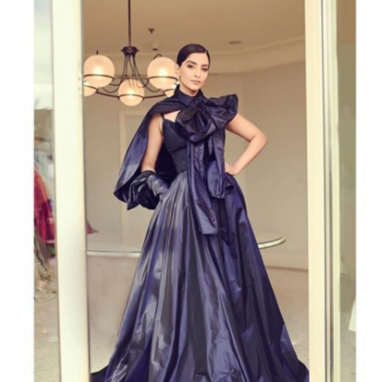 Cannes 2019: Sonam Kapoor looks regal in a dainty midnight blue gown; view PICS