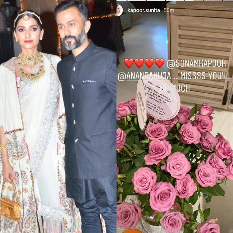 Sonam Kapoor, Anand Ahuja give 'flowery surprise' to Anil Kapoor & Sunita Kapoor on their wedding anniversary