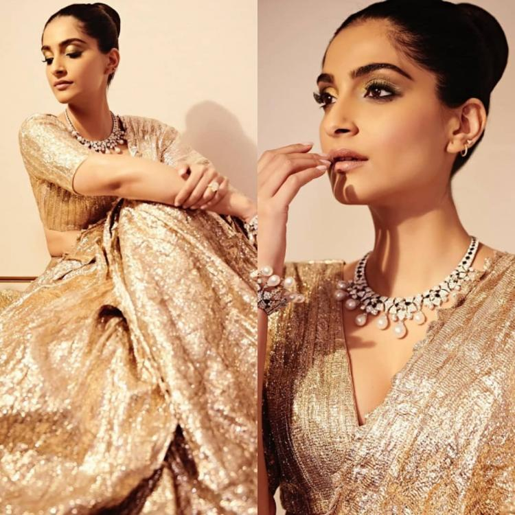 Sonam Kapoor is the ultimate desi girl in a gold lehenga by Itrh; Yay or Nay