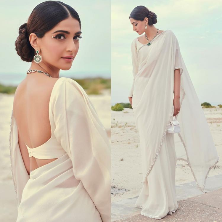 Sonam Kapoor takes us back to the old times in a Manish Malhotra saree and vintage glam; Yay or Nay?Sonam Kapoor takes us back to the old times in a Manish Malhotra saree and vintage glam; Yay or Nay?