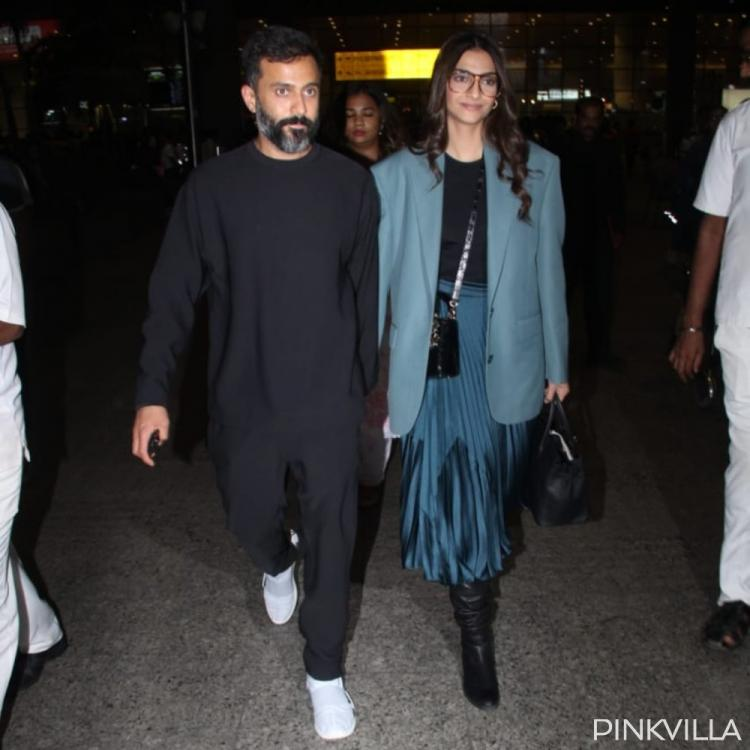 PHOTOS: Sonam Kapoor & husband Anand Ahuja are at their fashionable best as they arrive at the airport