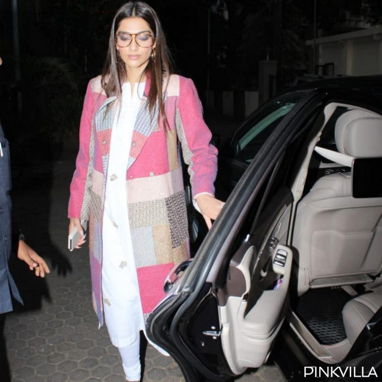 PHOTOS: Sonam Kapoor gives an all white salwar suit a stylish twist with a multi colour long jacket