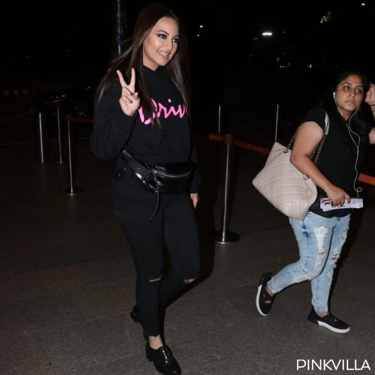 Airport Diaries: Sonakshi Sinha ups her style game in an all black outfit as she leaves for Delhi