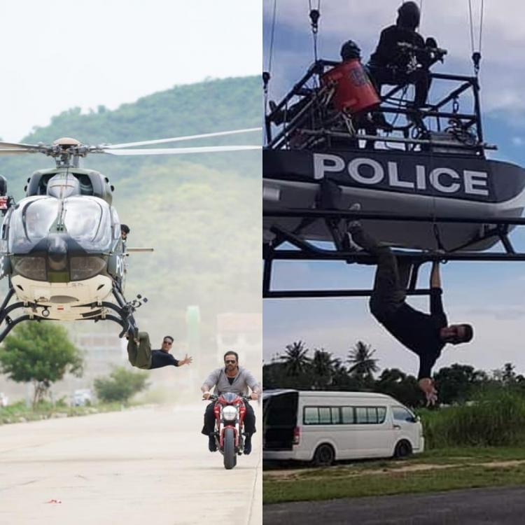 Sooryavanshi: Akshay Kumar performs the helicopter stunt on set like a pro; See pic