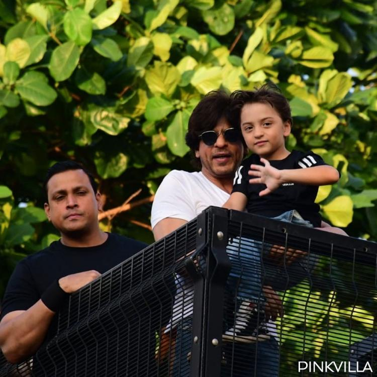 Shah Rukh Khan gets joined by little AbRam to greets fans on 54th birthday outside Mannat; See PHOTOS
