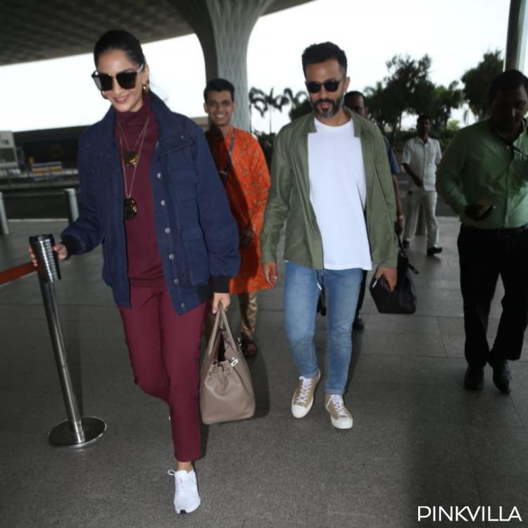 PHOTOS: Sonam Kapoor & husband Anand Ahuja steal the limelight as they arrive at the airport in style