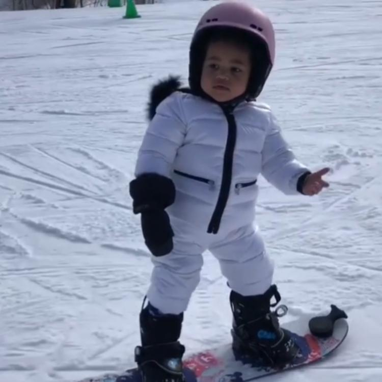 VIDEO: Kylie Jenner's daughter Stormi snowboarding is the CUTEST thing on the internet right now