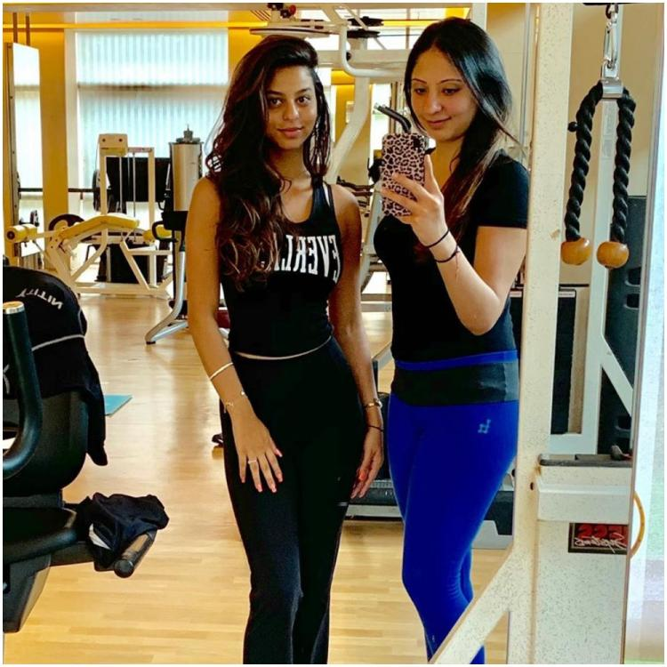 Suhana Khan resembles her father Shah Rukh Khan as she strikes a pose with her belly dance trainer; See Pic