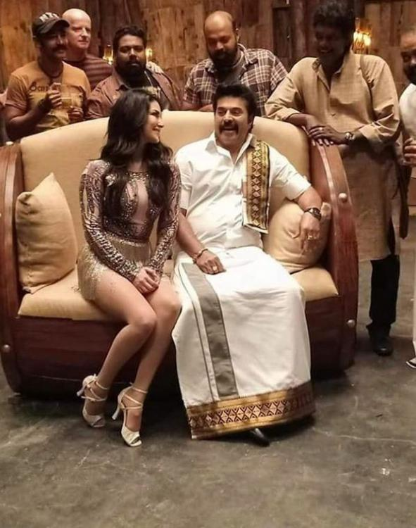Madhura Raja: Sunny Leone begins the shooting for a dance number with Malayalam superstar Mammootty