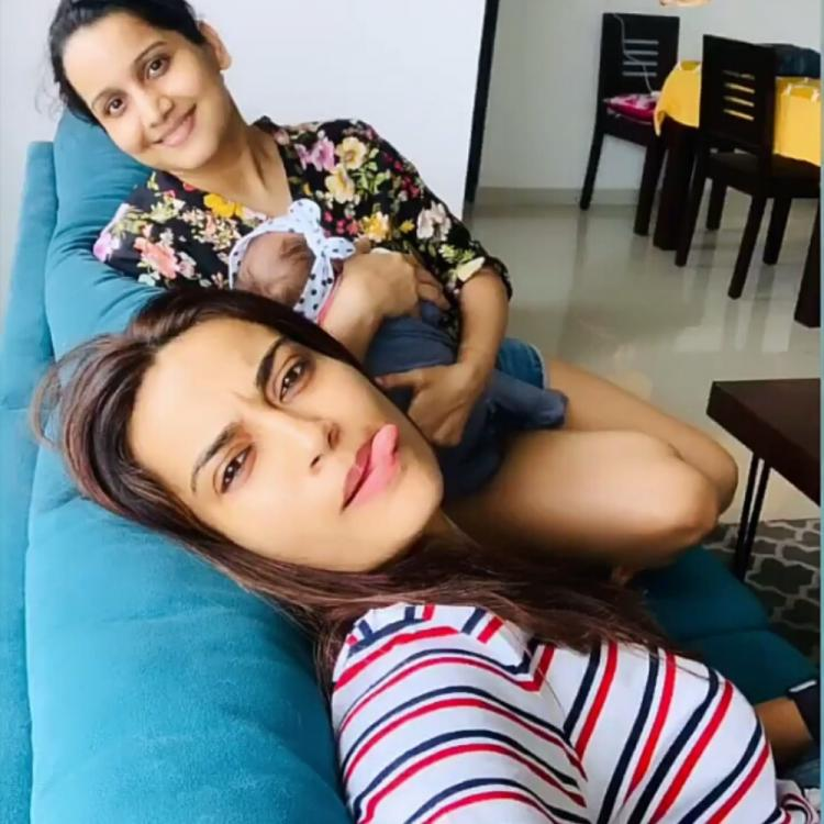 Naagin 3 fame Surbhi Jyoti shares a goofy pic with her friend and her little munchkin