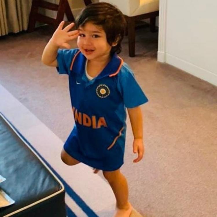 World Cup 2019: Taimur Ali Khan celebrates team India's victory over Pakistan by wearing an Indian jersey