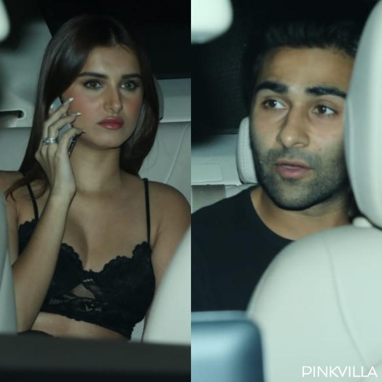 Tara Sutaria & Aadar Jain twin in black as they arrive for Baaghi 3's screening; See Pics