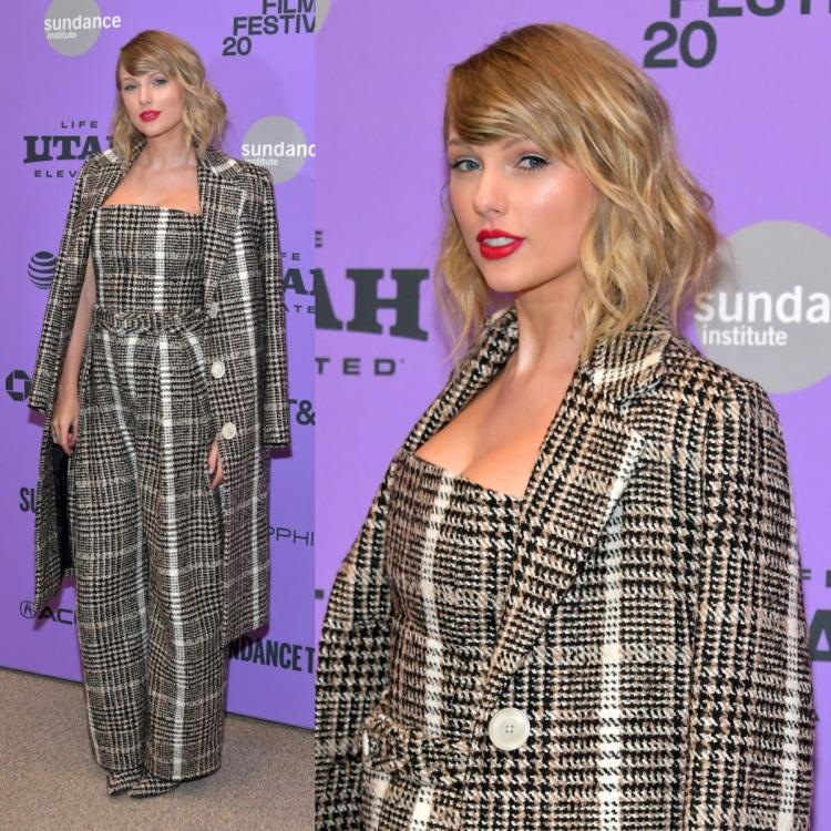 Taylor Swift rocks a plaid jumpsuit and matching trench with her signature red lip at Miss Americana premiere