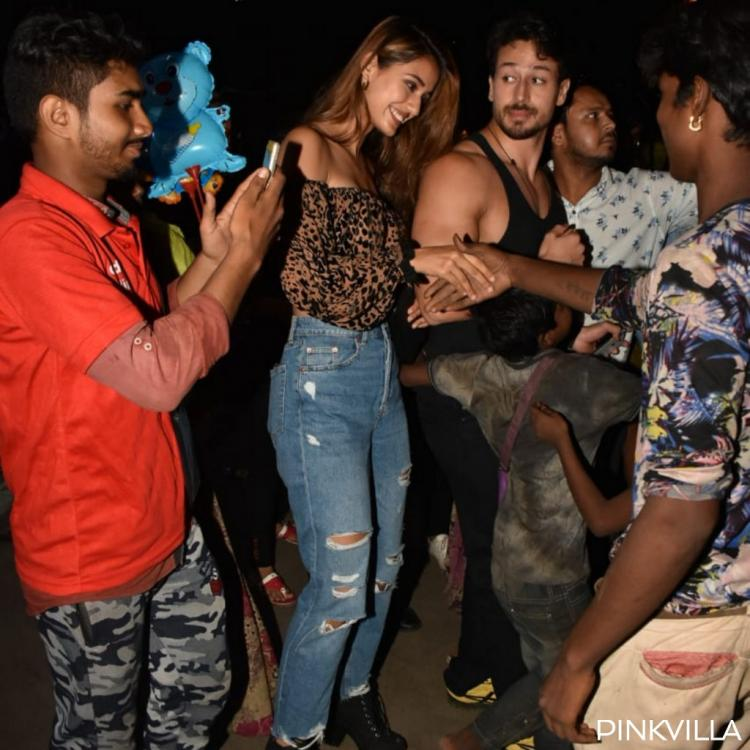 PHOTOS: Tiger Shroff and Disha Patani interact with fans post the latter's birthday dinner