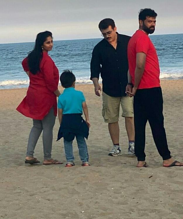 Ajith Kumar sports a new look with son Aadvik and wife Shalini at a beach in Chennai; See Pic