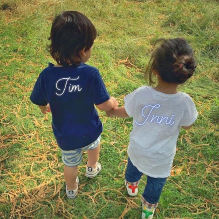 Taimur Ali Khan and cousin Inaaya Naumi Kemmu enjoy a walk together while holding hands; view PIC