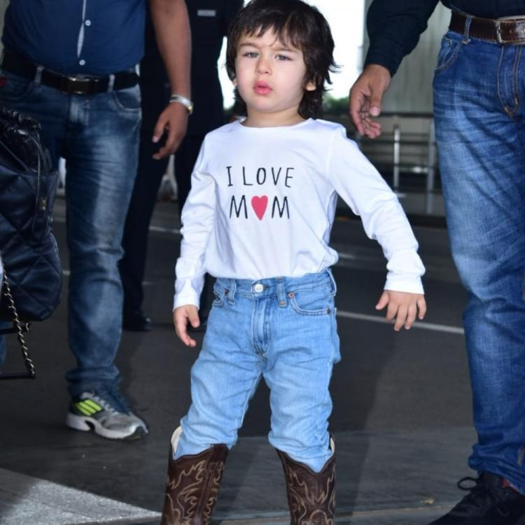 Taimur Ali Khan gives us total Boss Baby feels as he walks with swag in leather boots at the airport; WATCH