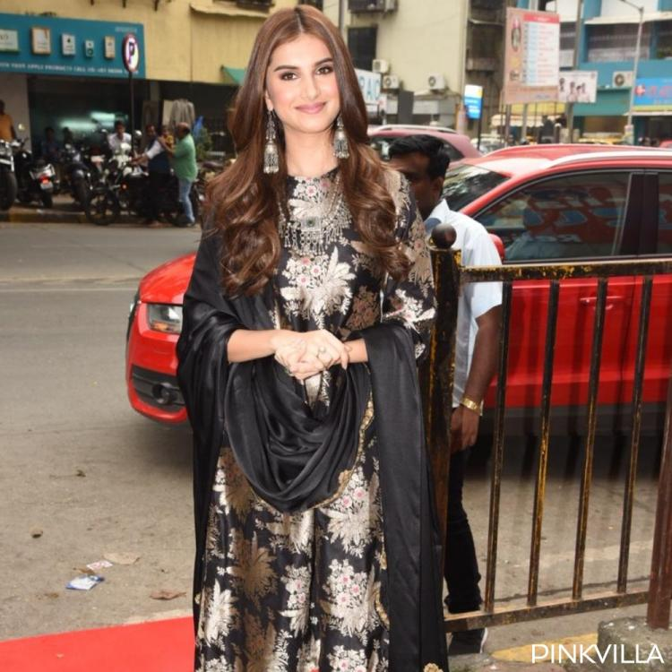PHOTOS: Tara Sutaria looks stunning in a black and gold salwar suit as she poses for the shutterbugs