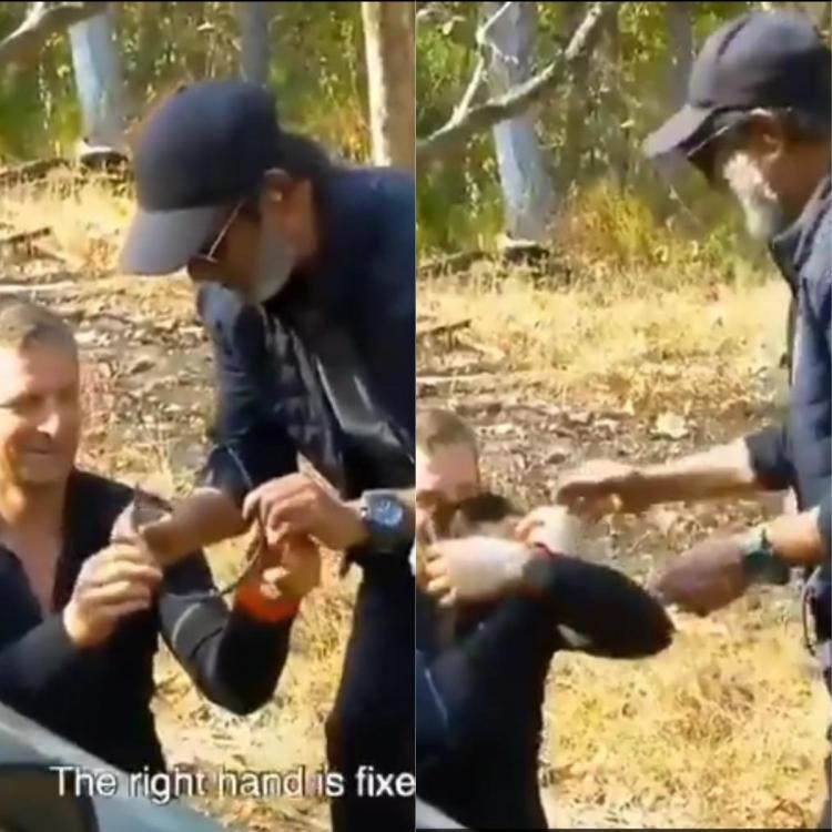 WATCH: Rajinikanth teaches Bear Grylls his iconic style of wearing glasses and it is too cool to miss