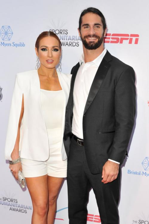Seth Rollins and Becky Lynch accompanied Stephanie McMahon at the ESPN Sports Humanitarian Awards.