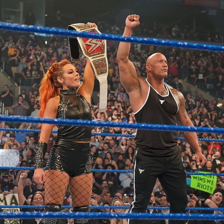 The Rock and Becky Lynch teamed up to take on Baron Corbin during the premiere episode of SmackDown on FOX.