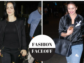 huma qureshi,Faceoffs,Elli Avram,Black Bomber jacket,Fashion faceoff huma qureshi and elli avram