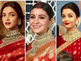 deepika padukone,anushka sharma,aishwarya rai,fashion,Sabyasachi,saree,red,Faceoffs,Faceoff