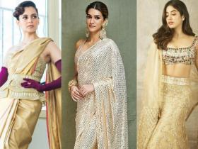 Celebrity Style,fashion,gold,saree trend