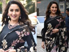 Celebrity Style,manish malhotra,madhuri dixit,black saree,kalank,timeless beauty