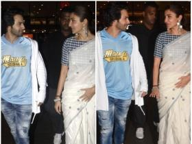 Anushka Sharma and Varun Dhawan are all smiles at the airport