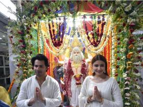 Anushka Sharma and Varun Dhawan seek blessings during Vishwakarma Puja
