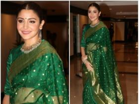 Anushka Sharma looks ethereal in a green saree as she attends an event